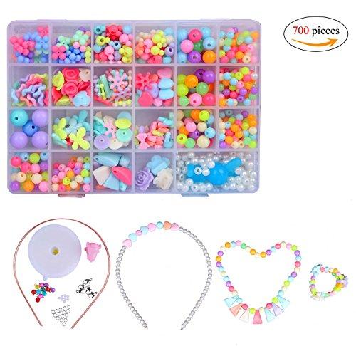 Bambini perline,diy perline differenti multicolore di arte dei bambini con scatola fare gioielli braccialetti necklace in scatola di pvc per compleanno christmas festival regalo 700 pieces
