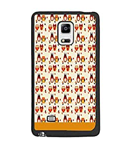 PrintDhaba Owl pattern D-1858 Back Case Cover for SAMSUNG GALAXY NOTE 4 (Multi-Coloured)