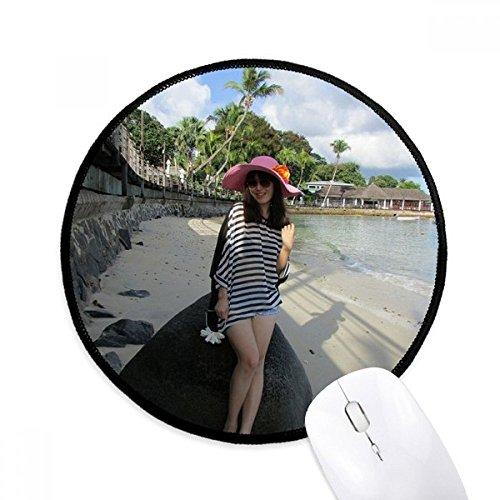 diythinker Beach Coconut Baum Ellie Yao Mädchen Stein rund rutschfeste Mousepads schwarz titched Kanten Spiel Büro Geschenk