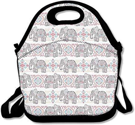 Bolsa de almuerzo de neopreno con diseño de elefante de safari asiático indio con estampado étnico y correa para el hombro, bolsa de almuerzo para mujeres, hombres, niños, caja de almuerzo de picnic