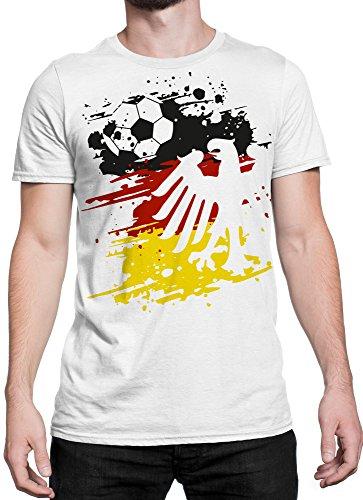 vanVerden Unisex T-Shirt XS-5XL Adler Fußball Trikot Deutschland / wm em, Color:Weiß, Größe:M (Us-fußball-wm)