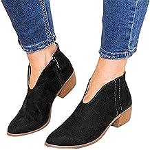 Botines Mujer Tacon Ancho Ante Cuero Tobillo Botas Piel Ankle Boots 4 Cm Cremallera Moda Comodos