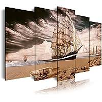 DEKOARTE 298 - Cuadro moderno en lienzo de 5 piezas, barco en orilla playa, 150x80cm