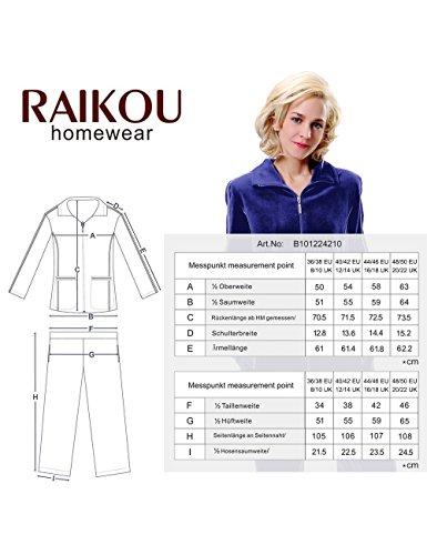 Raikou Tenue d'intérieur pour femme en velours Nicki avec fermeture éclair et ruban de satin Noir - Noir