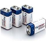 Poover 9V Battery 700mAh 6f22 9volt Lithium Rechargeable Batteries 4 PackÃ'Li-ion Batteries (4pack 9v Battery)