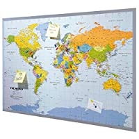 Pinboard World Map or Map of Europe 90 x 60 cm, Includes 12 Flag pins
