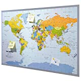 Pinnwand Weltkarte XXL - inklusive 12 Markierfähnchen - Kork - 90 x 60 cm