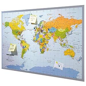 Mapa del mundo de la pared XXL – incluyendo 12 banderas de marcador – corcho – 90 x 60 cm – Mapa