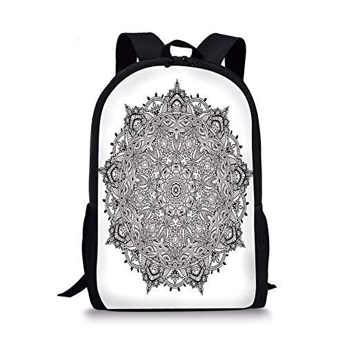 School Bags Mandala,Lace Like Macro Round Tribal Motif with Mix Paisley Leaf Elements Kitsch Image Decorative,Black White for Boys&Girls Mens Sport Daypack Paisley Mix