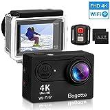Bagotte 4K Sport Action Cam, Wi-Fi Ultra FHD 16MP 170°Grandangolare Action Camera Impermeabile 30M Immersione Sott'acqua Camera con 2 1050mAh Batterie,Telecomando 2.4G per Immersione,Sciare