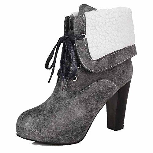 AgooLar Damen Schnüren Rund Zehe Hoher Absatz Niedrig-Spitze Stiefel mit Knoten, Grau, 37