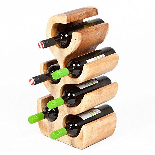 LEBENSwohnART Weinregal/Flaschenhalter BOTOL-S ca. 50cm massives Suar-Holz Wein-Flaschen