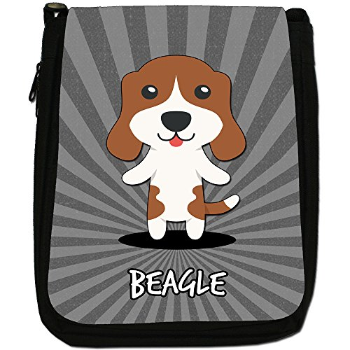 English Cartoon cani medium nero borsa in tela, taglia M Beagle, English Beagle
