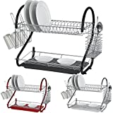 Babz 2-Tier Dish Drainer Rack Holder - 3 Colors (Black)