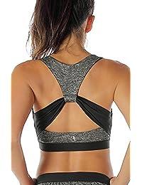icyzone Damen Sport-BH mit Starker Halt Gepolstert Bustier Stretch Sports Bra Top Fuer Yoga Fitness-Training