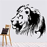 DECOR Kafe Home Decor Lion Face Wall Sticker, Wall Sticker For Bedroom, Wall Art, Wall Poster (PVC Vinyl, 66 X 66 CM)