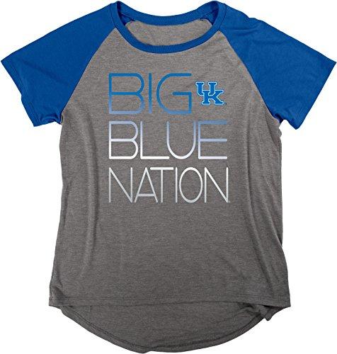 Blue 84 NCAA Kentucky Wildcats Damen Gracie Liquid Jersey Raglan Shirt, Größe S, Anthrazit/Royal