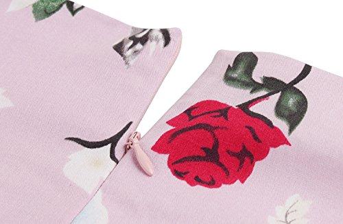 LUOUSE Vintage 50er 60er Retro Blumendruck Rockabilly Swing Kleid Floral-Rot