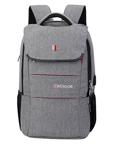 Ruigor RG6164 - Multifunktionaler Tagesrucksack 27l wasserabweisend Laptop Tasche 15,6 Zoll mit Antidiebstahlfach, USB- und Kopfhörer-Port grau