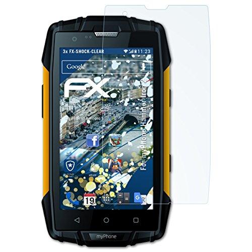 atFolix Schutzfolie kompatibel mit myPhone Hammer Iron 2 Panzerfolie, ultraklare und stoßdämpfende FX Folie (3X)