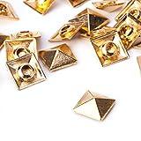 weddecor Gold quadratisch Pyramid Nieten Nieten–Für Leder Craft, DIY Projekte, Taschen, Gürtel, Schuh Deko Kleidung, Jeans (100Stück), metall, rose gold, 8 mm