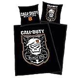 Call of Duty Black Ops IIII Fanartikel - Bettwäsche mit Wendemotiv - Decke 135x200 cm, Kopfkissen 80x80 cm - 100% Baumwolle - schwarz/orange