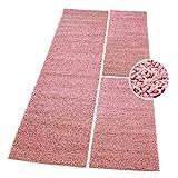 carpet city Shaggy Bettumrandung Hochflor-Teppiche in Pastell-Pink, Rosa, Einfarbig für Schlafzimmer, 3-teiliges Läufer-Set: 2X 70x140 cm und 1x 70x250 cm
