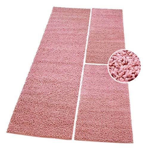 (carpet city Shaggy Bettumrandung Hochflor-Teppiche in Pastell-Pink, Rosa, Einfarbig für Schlafzimmer, 3-teiliges Läufer-Set: 2X 70x140 cm und 1x 70x250 cm)
