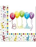 20 Serviettes Happy Birthday Ballons Rainbow