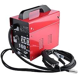 OUTAD 3 en 1 MIG 100 Wire Welder Gas Shielded Welding Machine inverter MIG Inert Gas Welder, rouge