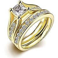 Set de anillos ZUMUii Butterme de titanio 316l dorado con solitario corte princesa de circonio, anillos de compromiso, set de anillos de boda para hombre y ...
