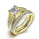 Set de anillos ZUMUii Butterme de titanio 316l dorado con solitario corte princesa de circonio, anillos de compromiso, set de anillos de boda para hombre y mujer tamaño 6-9, color amarillo, tamaño #8