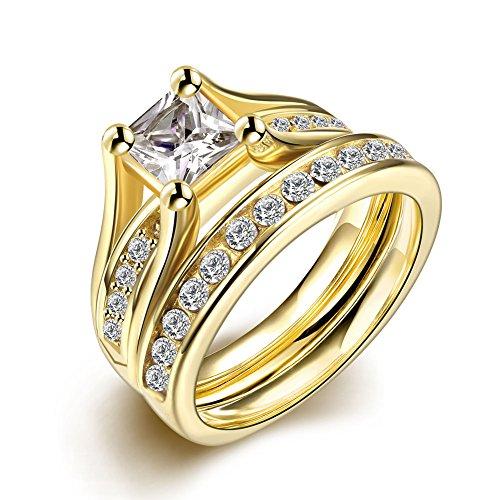 ZUMUii Butterme 316L Titanedelstahl -Gold überzogenes Princess Cut Solitaire CZ Versprechen Ringe - Frauen der Männer Wedding Bands Ringe Set Größe 8
