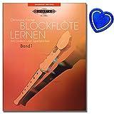 Blockflöte lernen mit Liedern und Spielstücke Band 1 - Blockflötenschule von Christiane Fischer für Kinder ab sechs Jahren, erwachsene Anfänger und Wiedereinsteiger mit herzförmiger Notenklammer