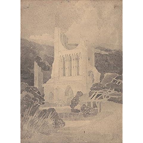 Venta de Juan COTMAN fachada oeste de Byland Abbey, Yorkshire. Inglés 18th-siglo 19. Cartel de la reproducción en 200gsm A3 satén de seda lustre bajo tarjeta del