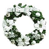 MARRYME Weihnachten Deko Adventskranz Girlande Weihnachtsbaum mit Silber Matt Kugel (Größe 50cm)