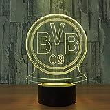 1 PACK, Multi LED Deutsche Fußballmannschaft Für BVB Nachtlicht Football Club 3D Illusion Tischlampe 7 Farbwechsel Luminaria Touch Lichter
