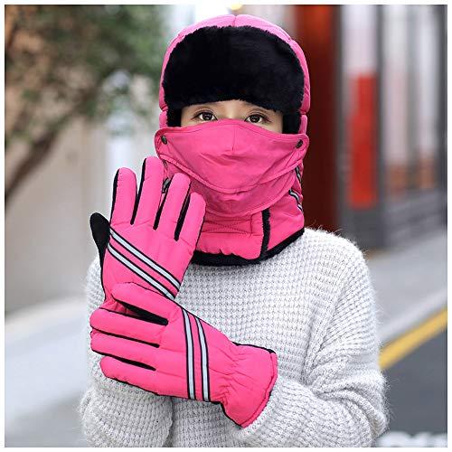 LIXUE Chapeau Automne Et Hiver Chaud Plus Fluff Épaississement Protection des Oreilles Coupe-Vent Bonnet Lei Feng Chapeau (Color : Rose Red)