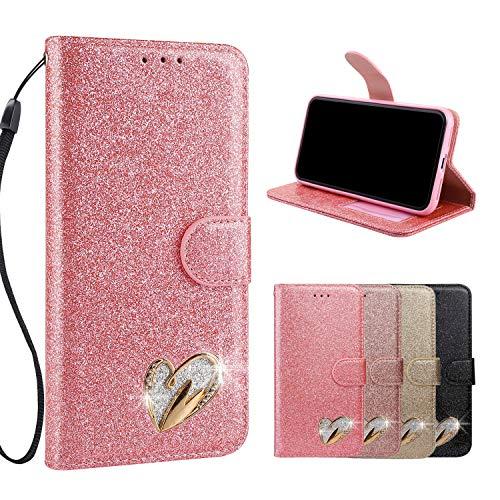 Luxus Glitzer Hülle für Huawei P20 Lite, Misstars Bling PU Leder Klapphülle mit Liebe Herz Design Wallet Cover Kartenfach Magnetverschluss und Standfunktion Schutzhülle, Rosa