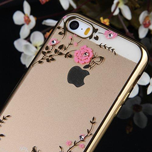 Coque iPhone SE,Coque iPhone 5S,Coque iPhone 5,Coque Étui Case pour iPhone SE / 5S / 5,ikasus® Plating Rose Golden Placage or rose Coque iPhone SE / 5S / 5 Silicone Étui Housse Téléphone Couverture TP Or rose Fleurs