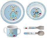 Sigikid Melamin Geschirr-Set Hase Semmel Bunny blau Geschenkset Tasse Schale Teller Besteck zur Geburt Taufe Geburtstag