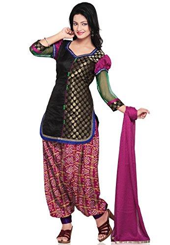 Utsav Fashion Chanderi Brocade and Dupion Silk Punjabi Suit in Black Colour
