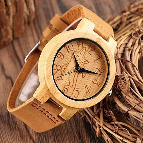 Vintage Wooden Watch Man Light Bamboo Cat Lovely Handmade Natural Non-Toxic Wood Quartz Wristwatches for Men Women