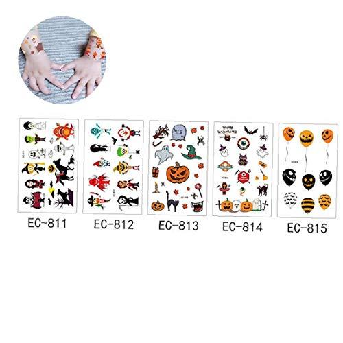 5 Blatt Temporäre Tätowierungen Halloween Craft Aufkleber Sortiment Art-Halloween-Halloween-Aufkleber Mit Kürbis-Geist-Schädel-Aufkleber Für Halloween-Party-Favors- Stil C
