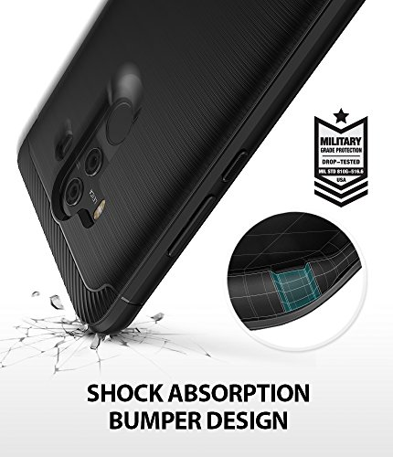 Huawei Mate 10 Pro Case, Ringke [Onyx] Brushed Metal Design [Flexible & Slim] Dynamic Stroked Line Pattern Durable Anti Slip Impact Shock Absorbent Case for Mate10 Pro (Black)