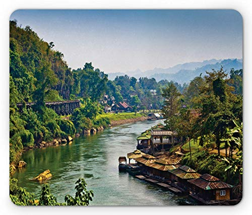 Asian Mouse Pad, River Kwai Living House Tropic Thailand Village Attractions Scenery, Rectangle Mousepad, Standard Size, Forest Green,Standard Size,RedYellow