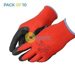 Daptez ® 10 x Ace Grip Lite Latex Coated High Grip Gripper Work Gloves Large General Use DIY