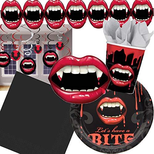 61-teiliges Partyset * Fangtastic * Vampirgebiss | für Geburtstag und Motto-Party | mit Teller + Becher + Servietten + Girlande + Swirl Girlande + Cutout | Halloween Deko Zähne Blut Blood rot Vampir