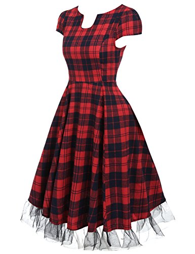 ACEVOG Damen Vintage Kleid Knielang mit Kurzarm Kariert 50er Jahre Rockabilly Kleid Schwingen Retro Partykleider Cocktailkleider Rot Mit Schwarz