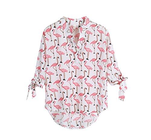 Camicie donna elegante stampa fenicotteri estate mezza manica camicia coreana hip hop moda giovane stile dolce casual blusa shirt